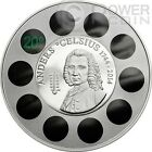 ANDERS CELSIUS Thermometer Silver Coin 5$ Cook Islands 2014