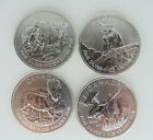 Lot of 4 Canada Wild Life Series Moose, Bobcat, Bison, and Antelope! 1OZ Silvers