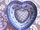 UNIKAT Polish Hand Made Stoneware Heart Shaped Blue Hanging Bowl / Dish / Mold