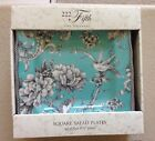 222 Fifth Adelaide Turquoise Square Side Salad Plates Set 4 Toile Birds Flowers