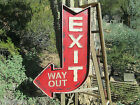 EXIT THIS WAY OUT HUGE COOL Metal Sign Auto Shop  Motor Oil Can Display STAGE
