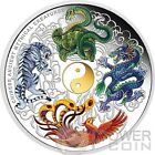 CHINESE ANCIENT MYTHICAL CREATURES Yin Yang 5 Oz Silver Coin 5$ Tuvalu 2014