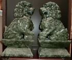 2 HUGE SIZE HEAVY (40 POUNDS) CHINESE NEPHRITE JADE FOO DOG STATUES(SHIPS USA)
