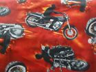 Motorcycles Riders Flames on Red Fleece Fabric
