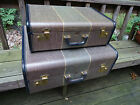 Antique Vtg Mendel Small Suitcase Striped Tweed Leather Trim 13