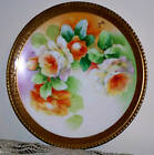 Antique Limoges France Hand Painted Roses Plate Artist Signed Gold Trim, 8.75