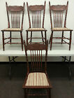 ANTIQUE 1900's ART NOUVEAU Pressed Back Chairs Turned Spindles Delicate Work