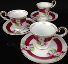 Set of 3 Vintage Ucagco China Small Tea Cups & Saucers Pink Roses Occupied Japan