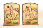 The Last Trail Circa 1920 Hand Painted Cast Iron Bookends