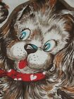 VTG CUT N SEW FABRIC PILLOW PANEL Stuffed Animal PUPPY DOG Brown RED HEART BOW