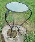 Vintage Antique Wrought Iron Side Table Plant Stand Bubbled Glass Top round