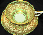 ROYAL STAFFORD WIDE GOLD GILT TEA CUP AND SAUCER PALE LIME GREEN