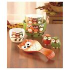 OWLS BOWL SET HARVEST TABLETOP DECOR SALT AND PEPPER SHAKERS MIXING SERVING NEW