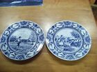 Luneville Studio, France Blue & White Dinner Plates, Spring & Fall