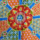 MOROCCAN FLORAL 3pc FULL QUEEN QUILT ORANGE BLUE FUSCIA TEAL YELLOW TAN