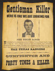 John Wesley Hardin Wanted Poster, Western, Outlaw, Old West
