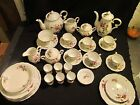 VINTAGE 41 PC COLLECTION MOSS ROSE TEA POTS AND ACCESSORIES JAPAN CHINA