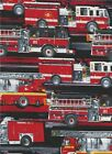 Fire Trucks on black Quilt Fabric Firefighters Rock QT