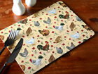 Set of 4 EVERYDAY HOME Chicken CORK-BACKED PLACEMATS Table Mats