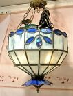 Slag Glass Shade Mermaid Nautical Chandelier Ceiling Light Fixture Lamp