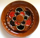 VINTAGE 1960s MCP MCCOY MT CLEMENS POTTERY ASHTRAY REDS GREEN BROWNS RETRO LARGE