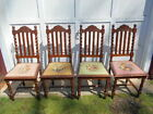 Set of (4) Antique Carved Barley Twist Dining Chairs w/Needle Point Seats