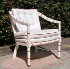 Beautiful White Leather Tufted Rolling Lounge Club Arm Chair