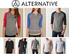 SZ XS - 2XL Alternative Apparel Unisex Vintage Look Raglan Henley Tshirt AA1989