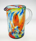 Mexican Glass Pitcher hand blown confetti swirl straight free shipping