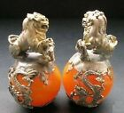 A PAIR CHINESE CARVED JADE & SILVER DRAGON FOO DOGS STATUE