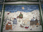 2 panels TOO MANY MEN Jacqueline Paton Red Rooster Fabric blue snowmen scene