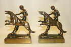 Walking her Dog Circa 1925 Bronze Clad Bookends Pompeian Bronze