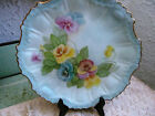 Vintage Hand-Painted Porcelain Dish Pansies Gold Gilted Embossed