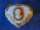 VINTAGE MUSIC BOX Made In JAPAN TRINKET BOX Heart w/ Cameo SANKYO White and Gold