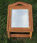 Antique French Carved Wood Medicine Wall Cabinet Beveled Glass mirror  Hooks