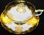 ROYAL STAFFORD FANCY HANGING GOLDEN ROSES TEA CUP AND SAUCER BLACK
