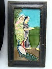 Beautiful Antique Majolica Tiles Women Peacock Pictorial Framed