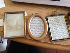 ANTIQUE THREE  (3) PRIMITIVE FRAMES 1 photo  RECTANGLE AND OVAL GLASS OVERLAY