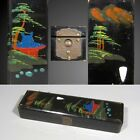 Antique French Japanese Lacquered Pen / Pencil Box / Case, Pagoda