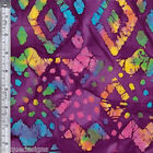 4 YD Cotton Fabric Batik Quilting Textile Creations Purple Diamond Multi