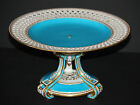 Antique c. 1867 Minton Porcelain Tripod Turquoise Tazza Reticulated Cake Plate