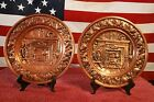Vintage Hammered Copper Wall Art Plates - (2) - FIREPLACE SCENE