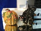 NEW Fitz & Floyd Halloween Harvest Salt Pepper Shakers s/p  Pumpkin & Black Cat