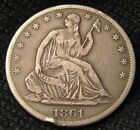 1861 S SEATED LIBERTY HALF DOLLAR - XF DETAILS   13361