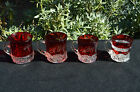 Set Of 4 Early 1900s Vintage Ruby Flashed Inscribed Souvenir Cups