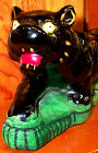 Rare WEST PAC Hand Painted Red Ware Black Panther Made in Japan w/Flocked Base