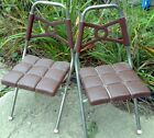 set of 2 Childs Chairs Molded plastic & metal folding Atomic retro vintage lot