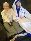 LARGE Vintage Pope John Paul & Mother teresa hand fired painted porcelain dolls