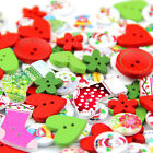 40G Wooden Buttons Multi Shape Christmas DIY Sewing Scrapbooking Craft Buttons