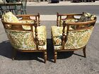 Mid Century Modern Hollywood Regency Barrel-Back French Upholstered Chairs